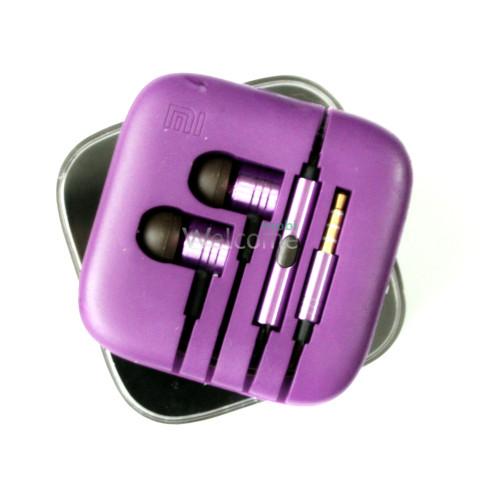 Наушники вакуумные метал Xiaomi MI ORIGINAL violet+mic (гарнитура)