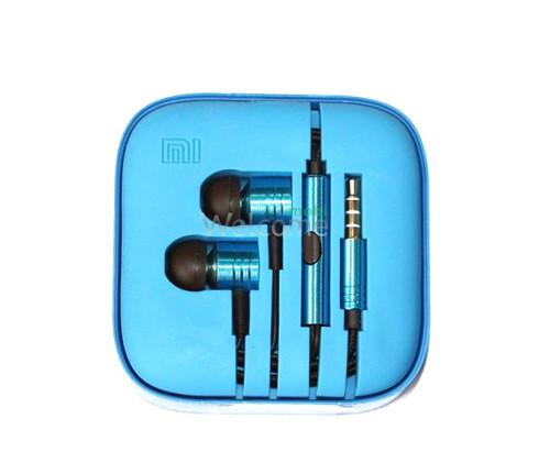 Наушники вакуумные метал Xiaomi MI ORIGINAL blue+mic (гарнитура)