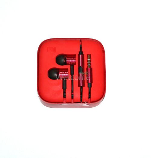 Наушники вакуумные метал Xiaomi MI ORIGINAL red +mic (гарнитура)
