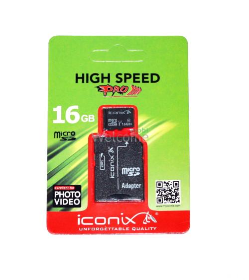 Карта памяти ICONIX MicroSDHC 16 ГБ 10 класс
