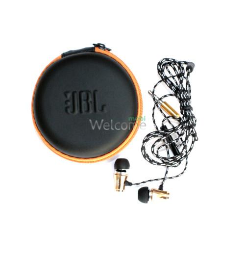 Наушники вакуумные метал JBL 123 gold+mic+чехол (гарнитура)