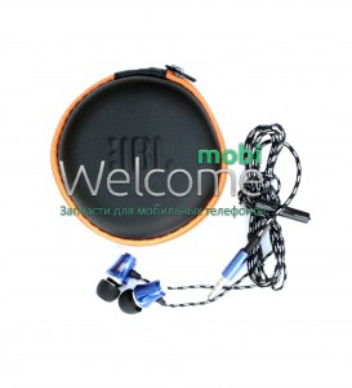 Наушники вакуумные метал JBL 123 blue+mic+чехол (гарнитура)