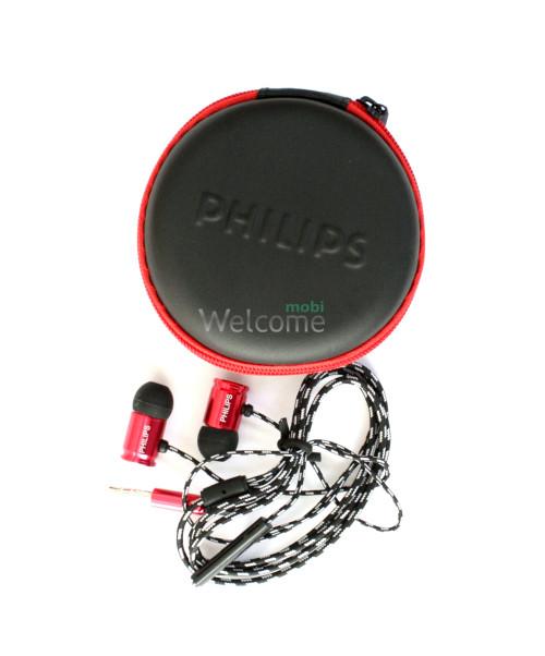 Наушники вакуумные метал Philips PH-142 red+mic+чехол (гарнитура)