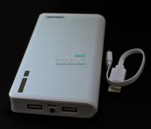 Внешний аккумулятор (power bank) UKC 20000mAh +LED дисплей 2USB(1A+2A)+LED фонарик white
