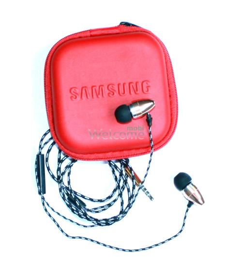 Наушники вакуумные Samsung EX-141 gold+mic+чехол (гарнитура)
