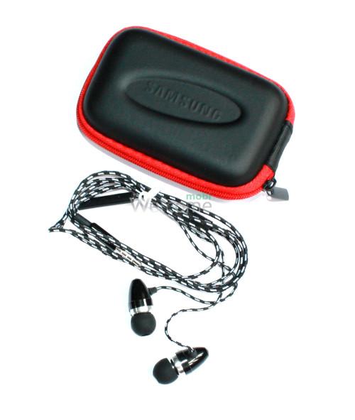Наушники вакуумные Samsung EX-141 black+mic+чехол (гарнитура)