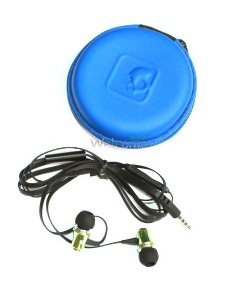 Наушники вакуумные метал Skullcandy SK-151 green+mic+чехол (гарнитура)