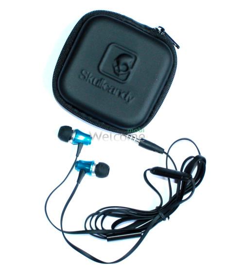 Наушники вакуумные метал Skullcandy SK-151 blue+mic+чехол (гарнитура)