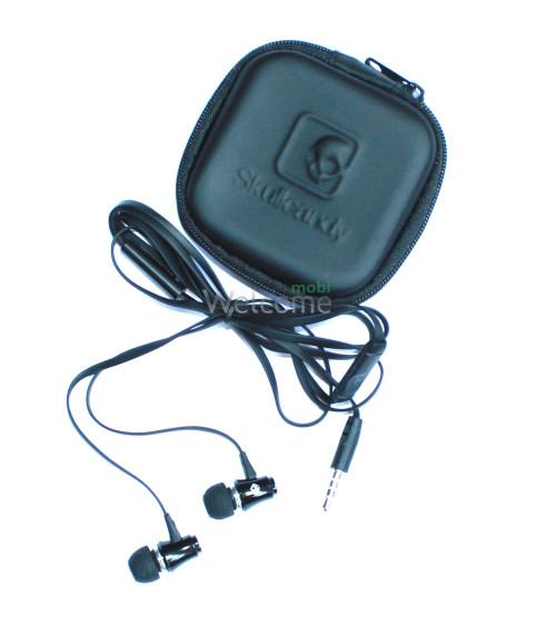 Наушники вакуумные метал Skullcandy SK-151 black+mic+чехол (гарнитура)