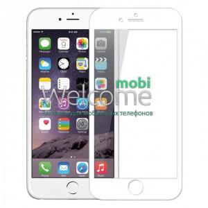 Стекло iPhone 6+,6S+ (0.3 мм, 3D, белое, полное, с олеофобным покрытием, и покрытием Silk Screen)