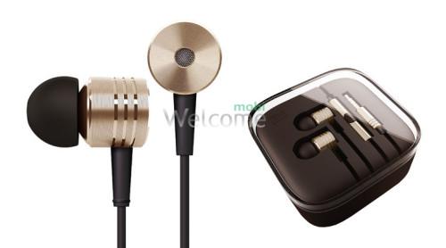 Наушники вакуумные метал Xiaomi MI ORIGINAL gold+mic (гарнитура)