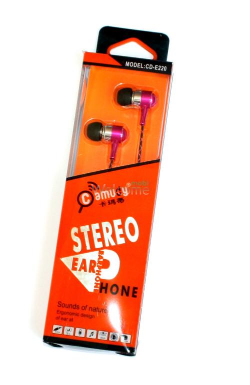 Наушники вакуумные метал Camudy CD-E220 гарнитура pink