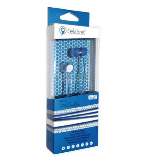 Наушники вакуумные Celebrat S-20 blue+mic (гарнитура)
