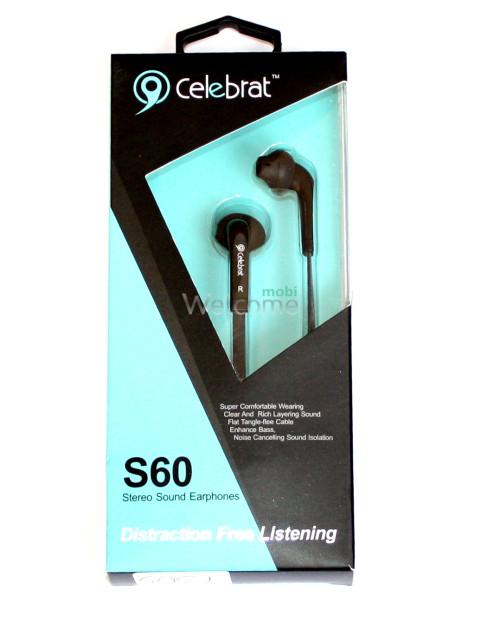Наушники вакуумные Celebrat S60 black+mic (гарнитура+рег громкости)