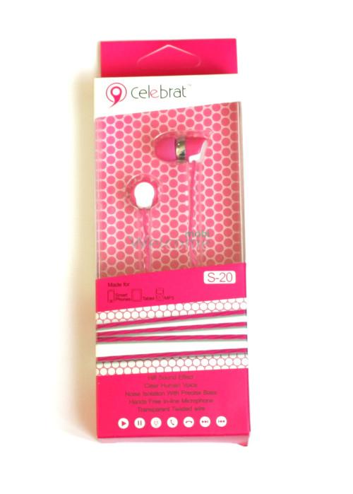 Наушники вакуумные Celebrat S-20 pink+mic (гарнитура)