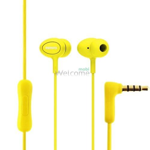 Наушники вакуумные Remax 515 гарнитура yellow