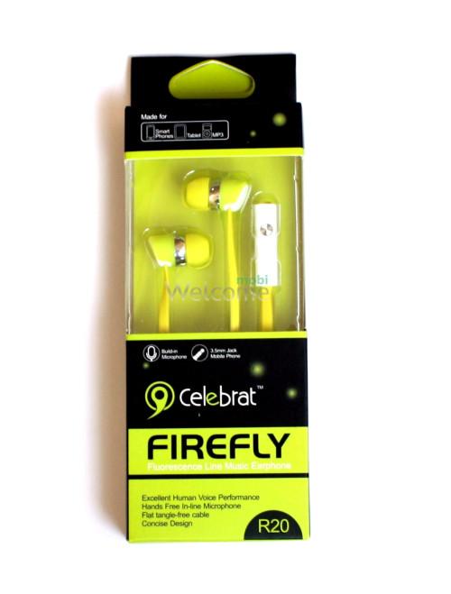 Наушники вакуумные Celebrat R20 green+mic (гарнитура)