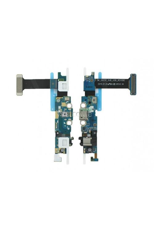 Шлейф Samsung G925F Galaxy S6 EDGE зарядка+наушники+Home+сенсорные кнопки+микрофон