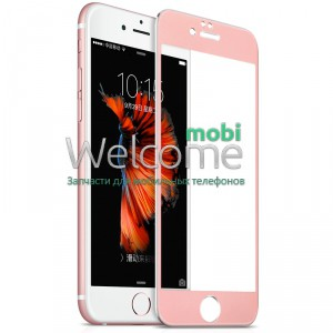 Стекло iPhone 6,6S (0.3 мм, 3D, розовое, полное,с олеофобным покрытием, и покрытием Silk Screen)