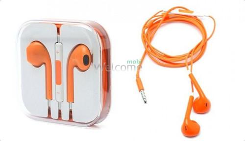 Наушники iPhone 5S orange (пульт+микрофон)