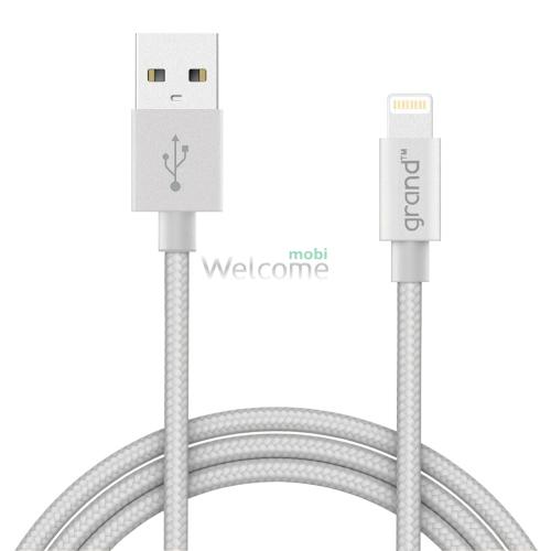 USB кабель для iPhone 5,5S,6,6S,7,8,X Grand Braided Silver 1м