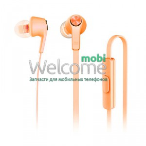 Наушники вакуумные метал Xiaomi MI5 orange+mic (гарнитура)