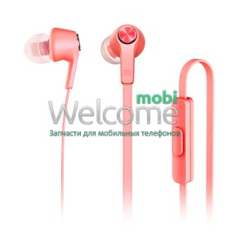Наушники вакуумные метал Xiaomi MI5 red+mic (гарнитура)