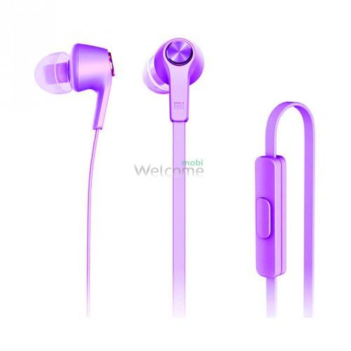 Наушники вакуумные метал Xiaomi MI5 violet+mic (гарнитура)