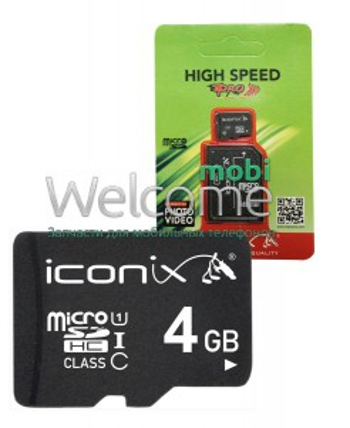 Карта памяти ICONIX MicroSDHC 4 ГБ 4класс с переходником