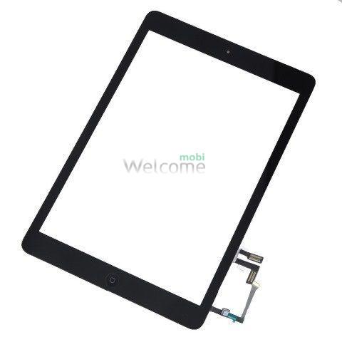 Сенсор iPad 9.7 2017 зі шлейфом та кнопкою меню (home) black (high copy)