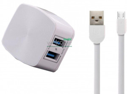 МЗП Remax RP-U215m 2.4A 2USB + кабель microUSB white