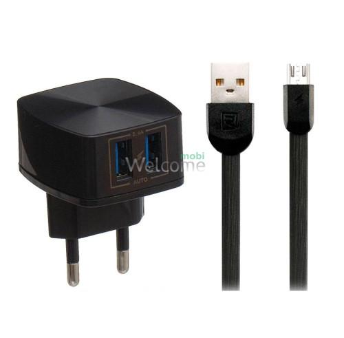 МЗП Remax RP-U215m 2.4A 2USB + кабель microUSB black
