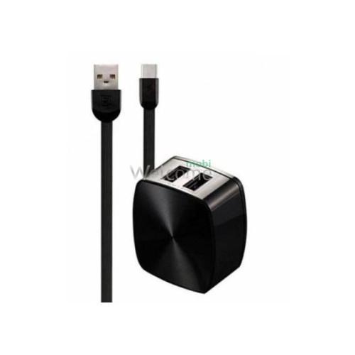 МЗП Remax RP-U215a 2.4A 2USB + кабель Type-C black