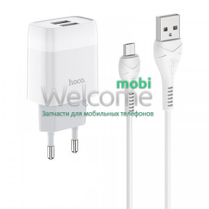 МЗП HOCO C73A Glorious 2.4A 2USB + кабель Micro white