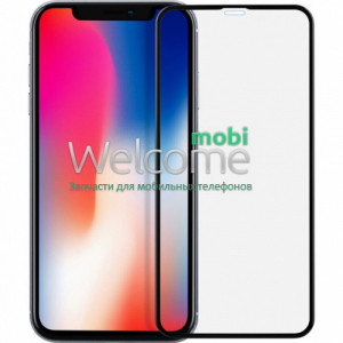 Скло iPhone XR (2018)/11 6.1 (0.3 мм, 5D/10D, чорне) ТОП без упаковки