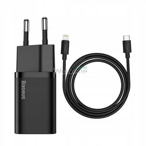 МЗП Baseus Super Silicone Type-C 20W + PD кабель Type-C to Lightning Black
