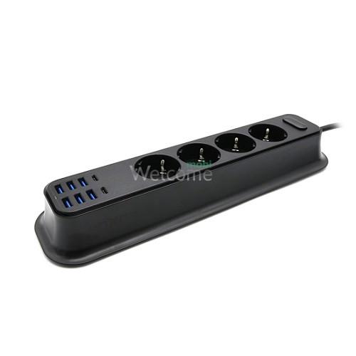 Подовжувач MOXOM MX-ST05 4 розетки + 6USB + 2Type-C, 3.4A 2м чорний