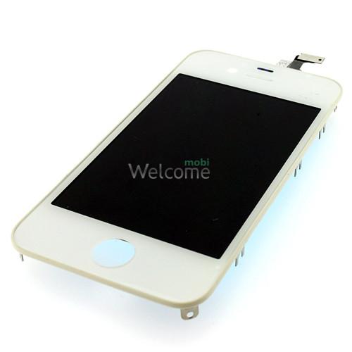 Дисплей iPhone 4G в зборі з сенсором та рамкою white (оригінал)