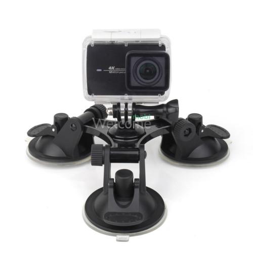 Кріплення на трьох присосках для GoPro і смартфонів