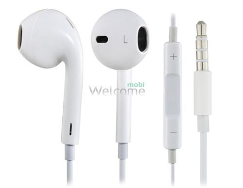 Навушники iPhone 5 orig white (пульт + мікрофон)