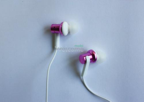 Навушники вакуумные метал Xiaomi MI7 pink+mic (гарнитура)