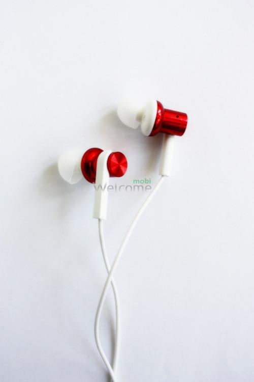 Навушники вакуумные метал Xiaomi MI7 red+mic (гарнитура)