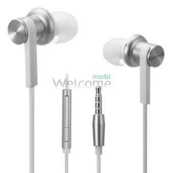 Наушники вакуумные метал Xiaomi MI7 silver+mic (гарнитура)