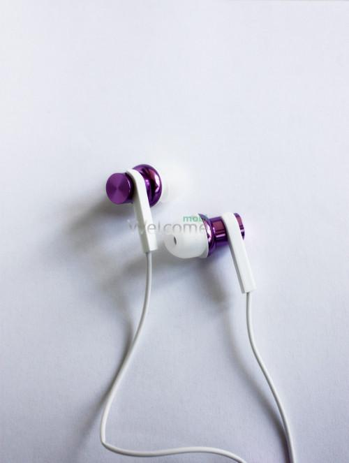 Навушники вакуумные метал Xiaomi MI7 violet+mic (гарнитура)