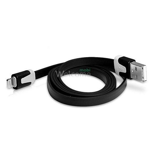 USB кабель для iPhone 5/5S/6/6S/7/8/X Grand плоский black 1м