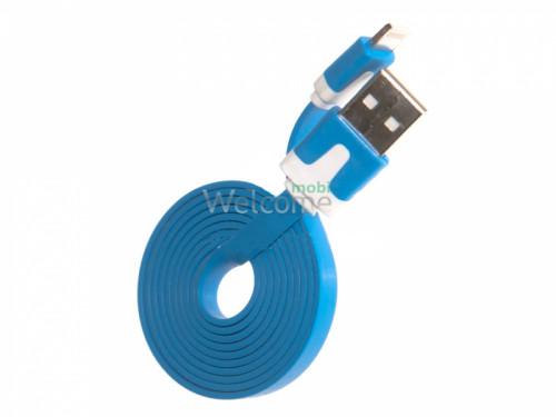 USB кабель для iPhone 5/5S/6/6S/7/8/X Grand плоский blue 1м