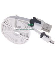 USB кабель micro Grand плоский white 1м