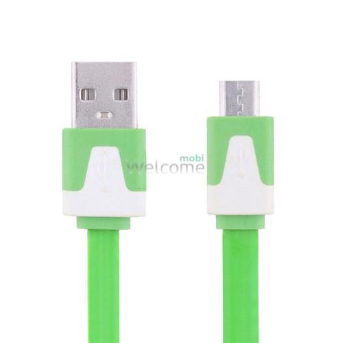 USB кабель micro плоский green 1м