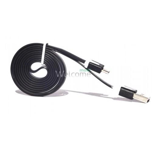 USB кабель micro Grand плоский black 1м