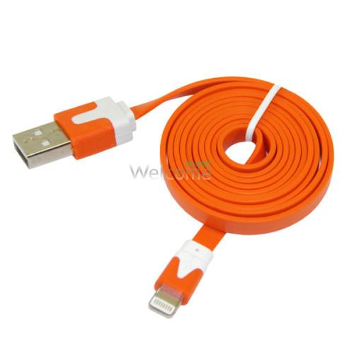 USB кабель для iPhone 5/5S/6/6S/7/8/X Grand плоский orange 1м